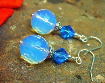 Blue Opal Earrings - Faceted Opalite Beads w Vintage Blue Crystals, Bali Style Silver Accents & Argentium Ear Wires / Proceeds Aid Food Bank