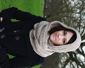 Hooded Scarf, Women s Scarf, Chunky Scarf, Hand Crocheted Hooded Scarf Oatmeal