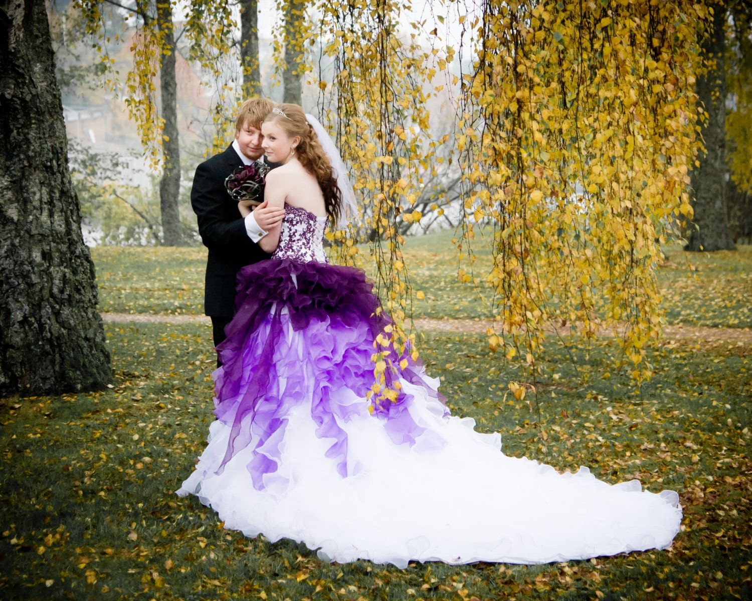 ombre wedding dress ombre wedding dress Dip Dye Purple and White Ombre Wedding Dress Strapless with Lace and Organza