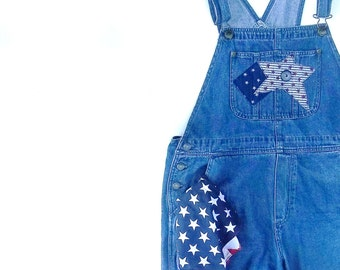 Vintage Denim Overalls.  Jean Bib Jumpsuit.. Grunge Urban Chic. Indie Boho Clothing.Country Prairie Chic. Size Large