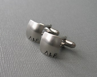 Square Cuff Links -- Couples Monogram Personalized CUFFLINKS, Made to Order Initials Cufflinks