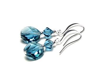 Teal Blue Green Swarovski Crystal Silver Earrings, Indicolite Cosmic Bead Earrings, Teal Prom Earrings, Bridesmaid Jewelry, Gift for Women