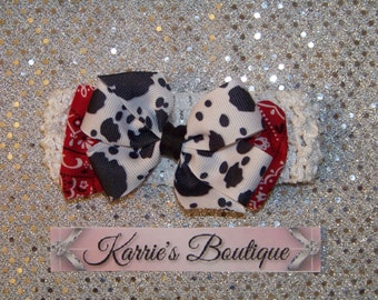 Cowgirl Hair Bow or Headband / Cow Print & Red Bandana / Double Stacked Bow / Western / Birthday / Infant / Baby / Girl / Toddler / Boutique
