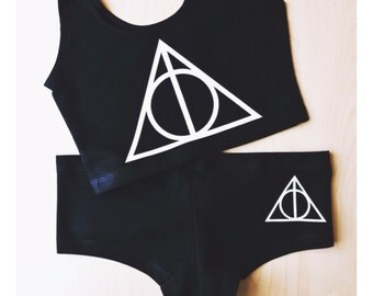 Deathly Hallows Spandex Crop Tank and Underwear Set - Inspired by Harry Potter - Made in USA by So Effing Cute