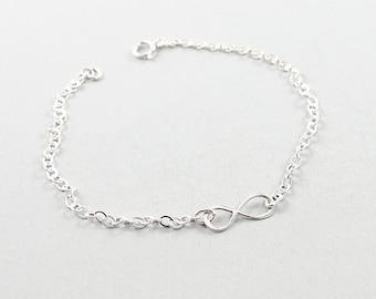 Sterling silver infinity bracelet, friendship bracelet, simple jewelry contemporary, best friends jewelry
