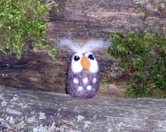 Felted Owl Needle Felted BrownOwl Miniature Bird Wool Owl