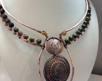 Tribal Forest Copper wire wrapped Pagan Psy Boho Ethnic Necklace