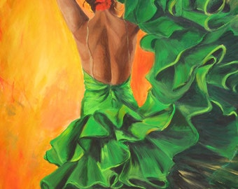 Flamenco dancer limited edition Giclee fine art print on canvas, Back of a Spanish dancer in green ruffled dress a dramatic painting.