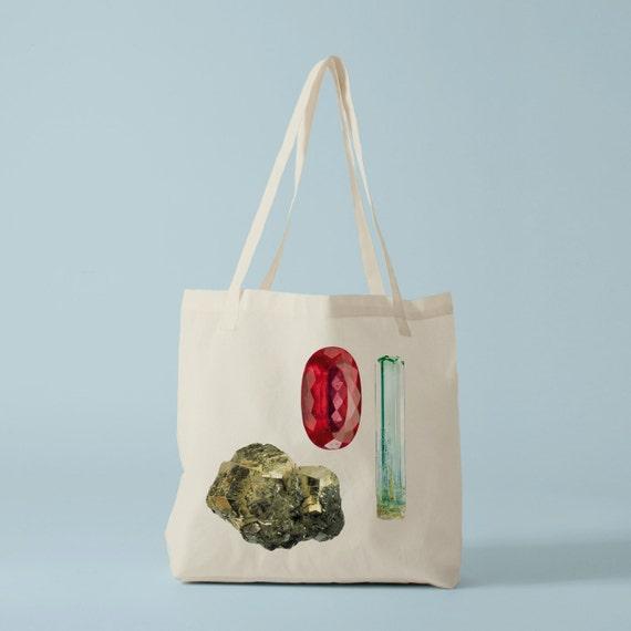 Tote Bag Modern Stones I, canvas bag, school bag, cotton bag, gems, laptop bag, groceries bag, student bag, gift coworker.