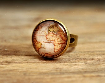 Vintage map ring, adjustable ring, statement ring, antique brass ring, glass ring, antique bronze / silver plated ring, jewelry gift for her