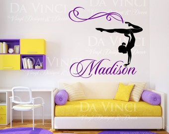 Gymnast Gymnastics Personalized Custom Name Dancing Dance Vinyl Decal  Sticker Bedroom Decoration stickers Etsy