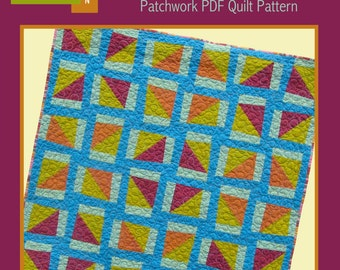 PDF Quilt Pattern - Windmills and Silos - Modern Quilt Pattern - PDF File - Instant Download