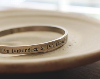 Inspirational quote: heavy sterling silver  (made to order - can be personalized up to 50 characters) - bangle bracelet