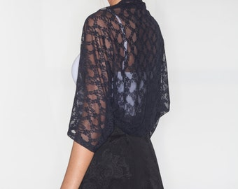 Lace jacket, black lace shrug, shrugs and boleros, Black lace jacket, lace spring jacket, bolero jacket