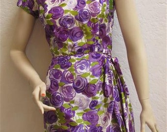 "1960's ""Tori Richard Honolulu"" Silk Wiggle Dress - 25 inch waist"