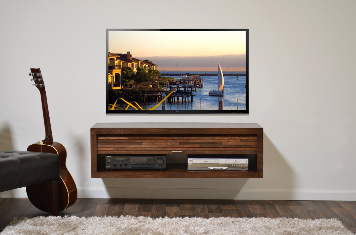 floating tv stand eco geo mocha. Black Bedroom Furniture Sets. Home Design Ideas