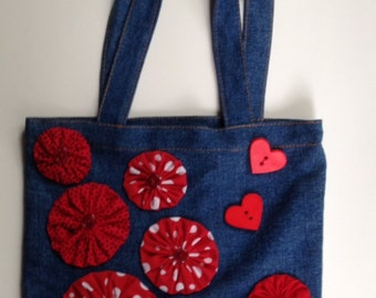 Yo-Yo Flower Embellished Denim Tote Bag, Valentine Tote  - Violet Bows