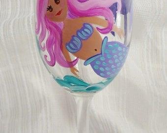 Custom wine glasses, Mermaid wine glass, Painted wine glasses, Mermaid, Painted glasses, Wine glasses, Hand painted wine glasses, 20 oz
