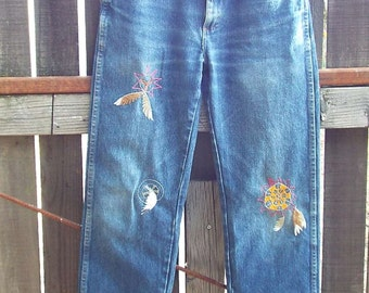 Dream Catcher, Embroidered Rustler denim, Resurrected Jeans, hand embroidery, zipper fly, W30-L30, boho, festival
