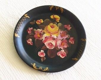 Vintage Raven Black Distressed Metal Rose Tole Wall Pocket, Cottage Home, Olives and Doves