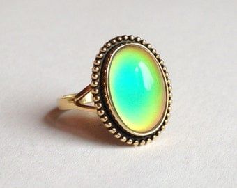 Mood Ring Sterling Silver 925 24k gold plated - 14x10 mm - DELUXE