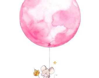 Animal Nursery Print - Mouse Nursery Illustration Print - Balloon Kids Art