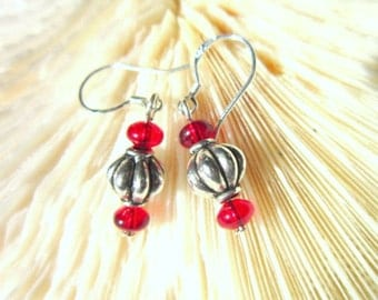 Silver and Red Bead Earrings  ID 308