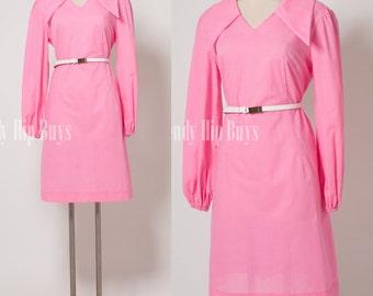 Mod dress, 60s Dress, Mod Pink Dress, Vintage pink dress, Mad Men Dress, Vintage Swiss Dot dress, 60s shift dress, Neon Pink Dress - M/L