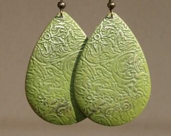 Green Earrings Boho Earrings Drop Earrings Patina Earrings Dangle Bohemian Earrings Jewelry Flower Earrings Etched Lightweight earrings