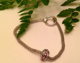 Bracelet charm beads,1 silver with pink rhinestone charm,bracelet charms, european charm beads, charms for bracelet,