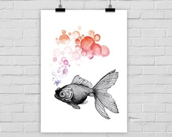 fine-art print goldfish fish bubbles watercolor vintage