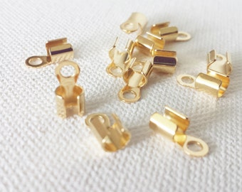 5x5mm Cord end, fold-over, gold-plated steel, crimp cord end, cord end, leather jewelry clasp, cord jewelry clasp,gold cord end,  NF0591