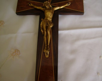 Wooden cross / religious antique Crucifix / french vintage