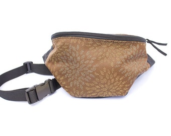 Brown Floral Chystanthymum fabric Fanny Pack - Hip Waist Bag