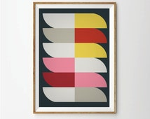 Abstract poster mid century poster, retro poster, geometric poster, Abastract art print, Geometric art print, retro art print