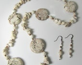 """Crazy Horse """"White Turquoise"""" Necklace and Earrings Set"""