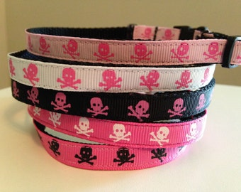 Girl Colors Skull Cat Collar Pink, White, Black