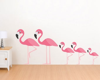 Flamingo Family Wall Decals- Reusable, Wall Stickers, Nursery wall decals 5 piece