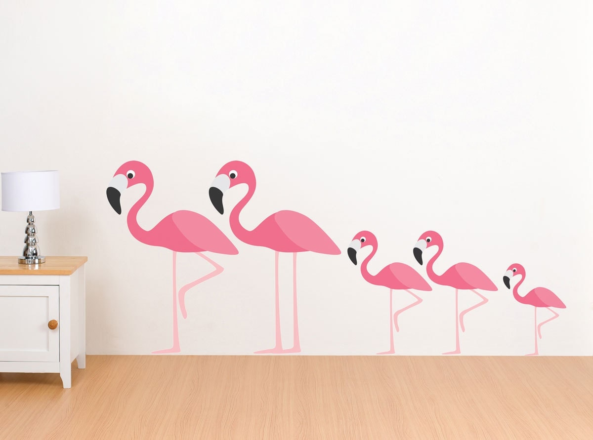 Etsy Family Wall Decor : Flamingo family wall decals reusable by
