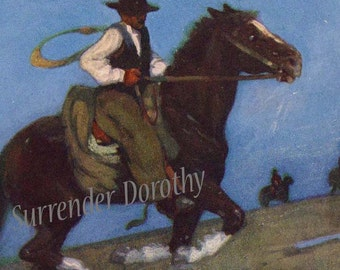 Gauchos Young Horseman Argentina A S Forrest 1910 Original Antique Watercolor Vintage Lithograph To Frame