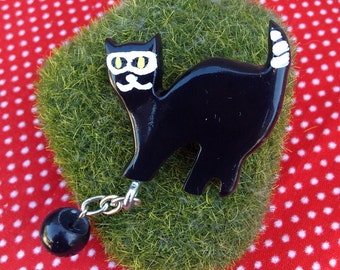 Cat Burglar Novelty Brooch - Ball And Chain - Dangle Charm Pin - Cute Kitschy Campy Retro Vintage Inspired