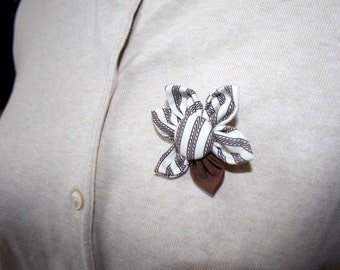 Tan and Brown Fabric Flower Brooch, Flower Pin - Handmade Fabric Flower