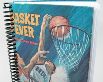 Recycled Book Journal - Hardback Book Notebook - Spiral Notebook - Spiral Journal - basketball fan - sports fan