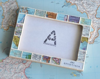 Wedding Gift Personalized Map Photo and Text Picture Frame Custom Made 4x6 Frame