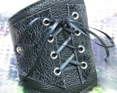 Made To Order - Women's Leather Corset Wrist Wallet Cuff - For Cards - with Secret Pocket - Crackled Black