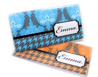 Personalized Checkbook Cover - Houndstooth Damask - choose your color - customize with your name