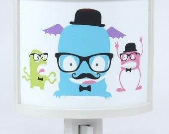 Space Hipsters Mustache bow tie ALienS Monsters Night Light Cute Nursery Bathroom hallway Bedroom GET IT nightlight Nite Lite