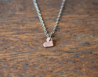 Simple Heart Necklace - Tiny Heart Necklace - Little Heart - Copper Heart Necklace - Everyday Jewelry - Minimal Necklace - Feminine Necklace