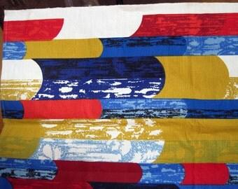Vintage Mod Screenprint Bark Cloth Fabric 3 yds