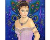 B. K. Lusk Oil Painting Peacock Fairy Lavender Grace India Goddess Sari Gold Leaf Gypsy